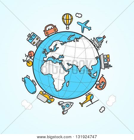 Travel and Transportation Concept. Map and Icons. Vector illustration