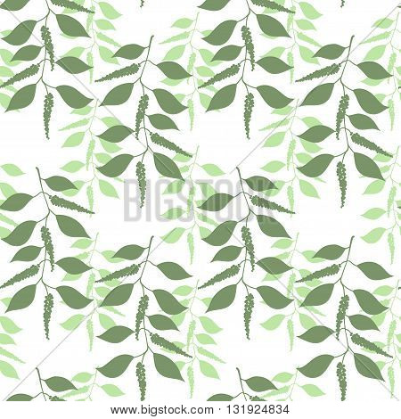 Seamless pattern berries and leaves of green pepper. Floral background. Vector illustration.