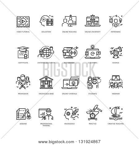 Video tutorials, training courses, online education vector line icons set. Education concept training and education science illustration