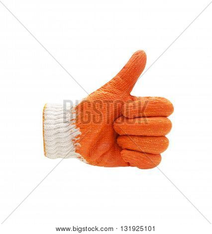 Thin work glove shows five fingers. Isolated on a white background