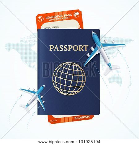Travel Concept with Passport and Boarding Pass. Air Flight. Vector illustration