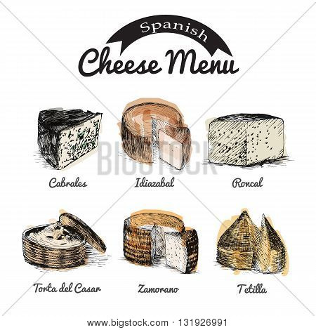Vector illustrated Set #1 of Spanish Cheese Menu. Illustrative sorts of cheese from Spain