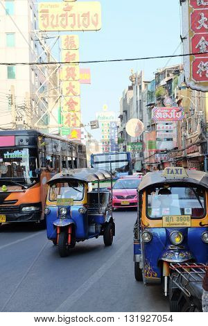 BANGKOK, THAILAND - APRIL24, 2016 : Motorized Tricycle on Yaowarat Road,chinatown of Bangkok, The Motorized Tricycle are a popular way to transport in Yaowarat Road.