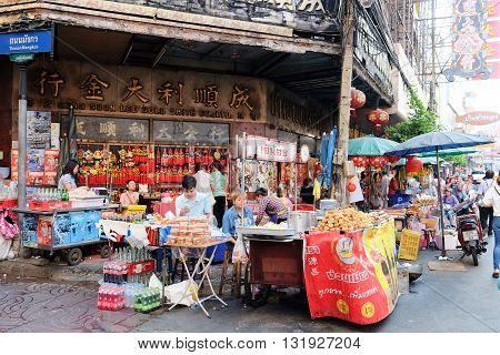 CHINATOWN, BANGKOK,THAILAND-24 APRIL, 2016:street food at Yaowarat Road. Yaowarat road is various products such as street food, gold shop.Restaurant,etc., Famous and Popular destinations for tourists.
