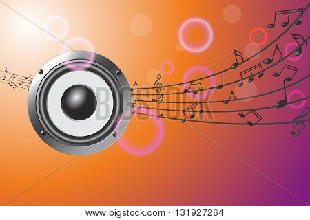 illustration of speaker on abstract musical background