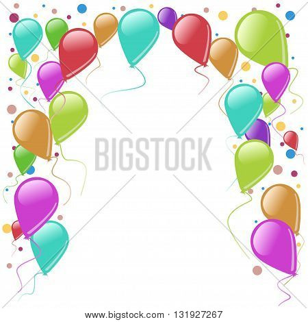 Holiday banners with color balloons on a white background