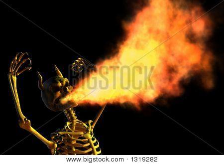 Fire Breathing Demon Skeleton