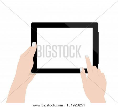 close up woman hand using digital tablet technology blank screen display on white background vector design
