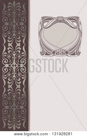Elegant vintage background with decorative old-fashioned frame and ornamental border Cover-book or vintage invitation card design.