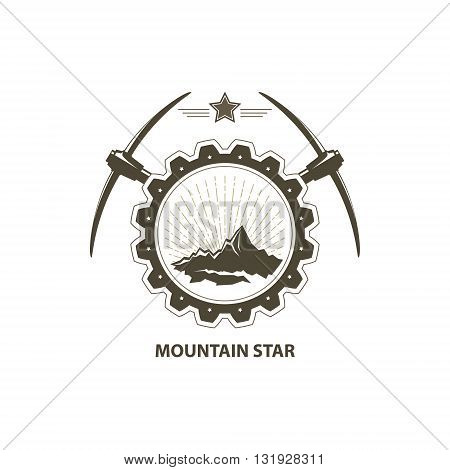 Mining Industry Emblem, Sunburst and the Mountains in Gear with Pickaxe and Star, Design Element, Vector Illustration