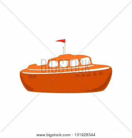 Orange Lifeboat Isolated on White, Marine Rescue Vessel, Flat Design , Vector Illustration