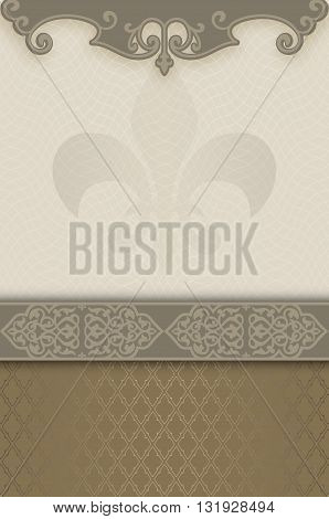 Vintage background with decorative borderframe and old-fashioned patterns. Book cover or vintage invitation card design.