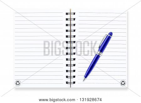 Note book with pen isolated on white