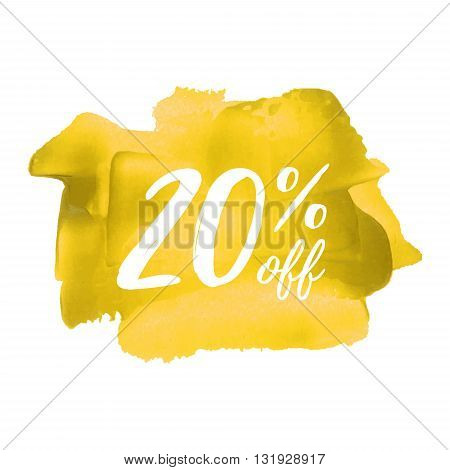 Sale 20% Off Yellow Card, Poster, Logo, Lettering, Words, Text Written On Painted Background Vector