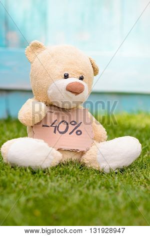 Teddy Bear Holding Cardboard With Information -40%
