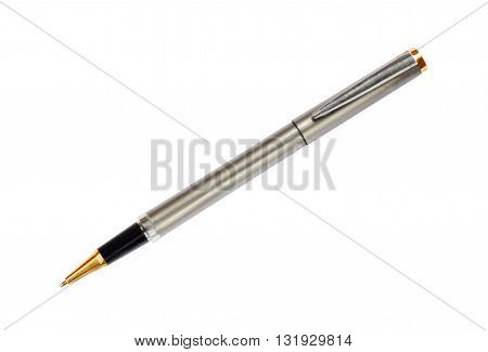 The silver pen isolated on white background