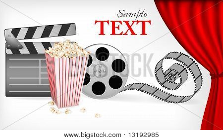 Background of movie related items. Vector