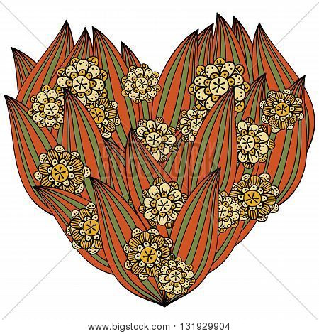 Colored heart in zentangle style leaves and flowers isolated onn white background. Whimsical line art for valentin's day coloring book. Red green yellow vector illustration.