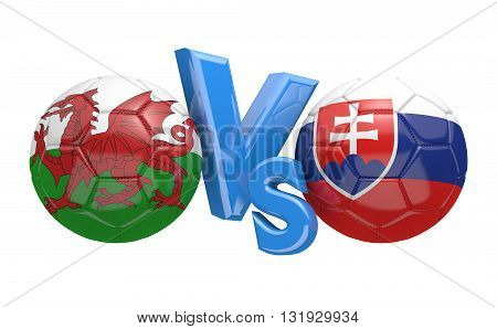 Football competition between national teams Wales and Slovakia, 3D rendering