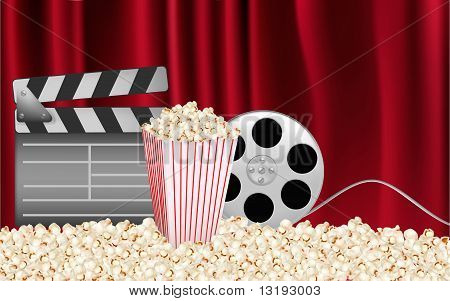 Background of movie related items. Vector illustration.