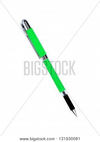 The green pen isolated on white background
