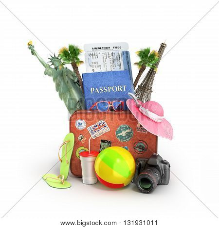 concept of travel passport suitcase sunbed fotoaparat attractions and other National Objects 3D illustrations on white background