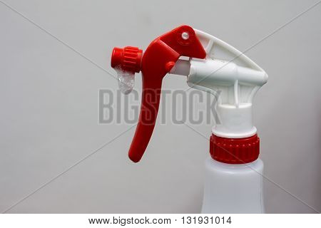 Spray bottle white, isolated, hand, water, plastic, background