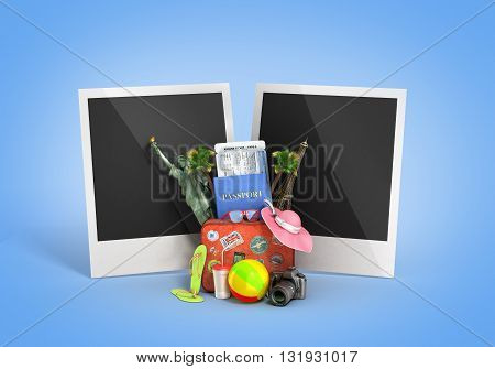 travel concept blank shots with palaroida are behind a suitcase attractions and other travel Offer 3D illustrations on gradiend background