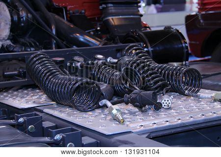 The Cables and Connectors of a Heavy Goods Vehicle.