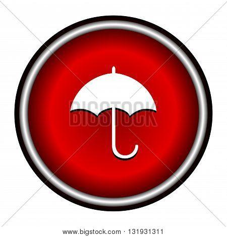 umbrella red modern web design circle icon on white background