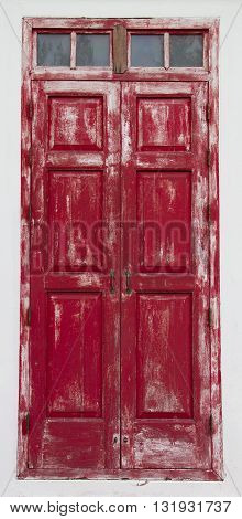 Red wooden closed door on white background