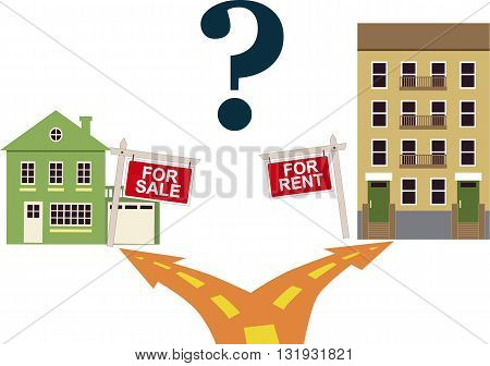 To rent or buy? A road fork, going to a one family house with a sign to buy on the left and an apartment building with a sign to rent to the right, question mark at the top