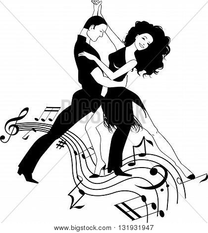 Couple dancing Latin dance on a swirly music design, black and white