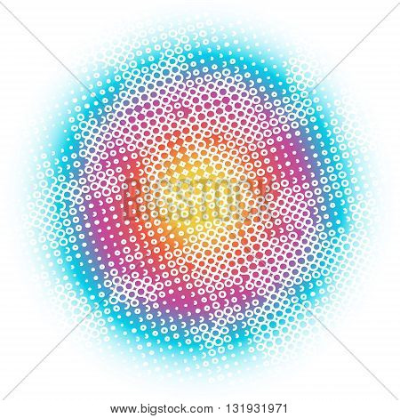 Circles, dots, rainbow abstract background pattern. Abstract rainbow vector illustration with blurred edges and white pattern of circles, dots, rings and curls.