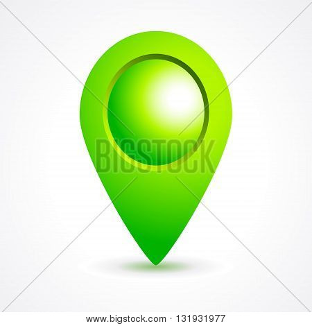 Green sign map marker. Vector illustration on white background.