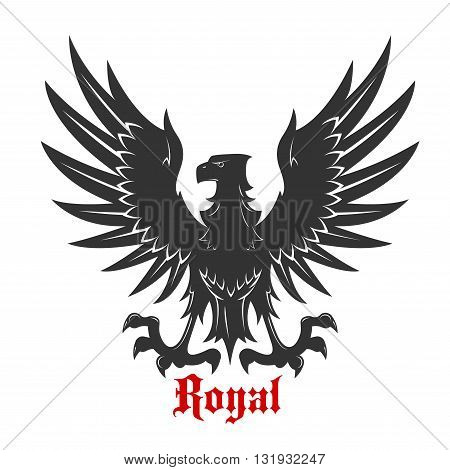 Black eagle royal heraldic symbol with medieval stylized bird floating in the air with wings spread and outstretched talons ready to catch prey