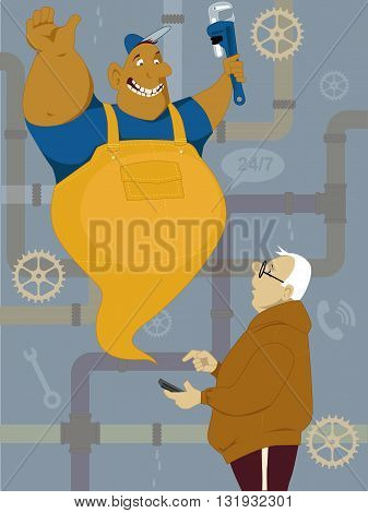 Middle age man calling plumber on his smart-phone and he appearing in front of him like a cartoon jinn, vector illustration, no transparencies ESP 8