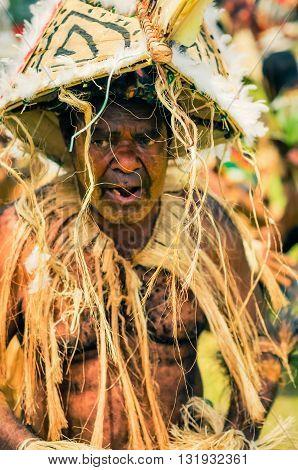 Old Dancing Man In Papua New Guinea