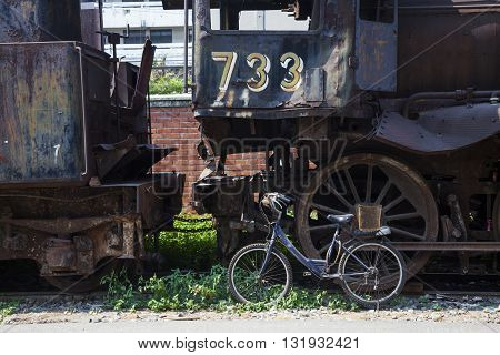 Steam locomotive wheel in retro style in Thailand