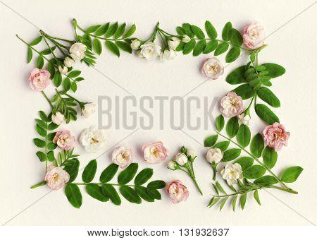 Floral framed background. Green plant leaves, little delicate flowers on paper backdrop.  Spring blossom pattern.