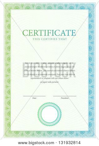 Certificate. Template diplomas currency. Award background. Gift voucher. Vector