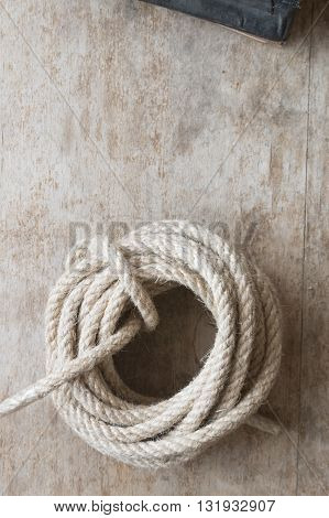 rope on the old wooden table with copy space