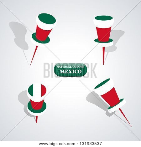Set of pushpin in the national colors of Mexico vector illustration.