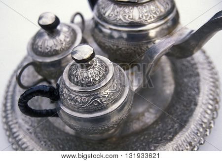 a tea pot at a tea plantation in the town of Nuwara Eliya in Sri Lanka in Asien.