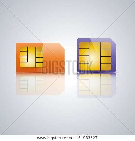 Set realistic SIM card with a mirror reflection vector illustration.