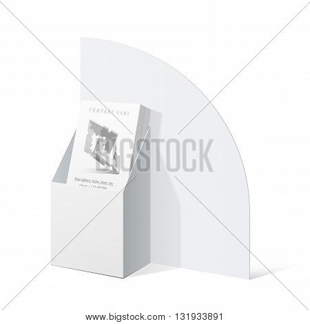 White Cardboard Holder For Brochures And Flyers.
