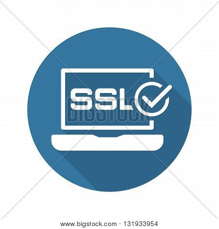 SSL Certified Protection Icon. Flat Design Long Shadow