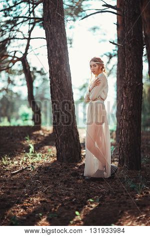 Beautiful Artistic Photo Ginger Girl In White Dress Walking In Forest.