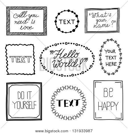 Hand drawn quote vintage vector frames. Doodle frame boxes, speech bubbles with text messages and commas. Frame vintage for text and doodle frame for message speech illustration