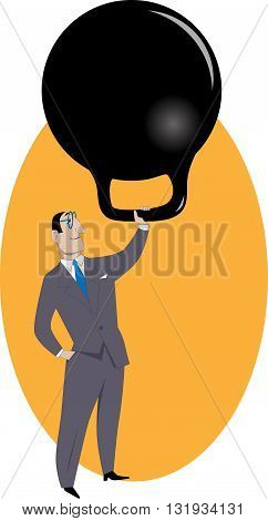 Handling responsibilities. A businessman lifting a giant kettlebell with one hand.